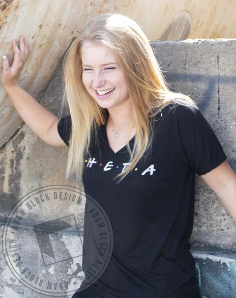 Kappa Alpha Theta Friends V-neck-gallery-Adam Block Design