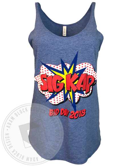 Sigma Kappa Superhero Bid Day Tank-Adam Block Design