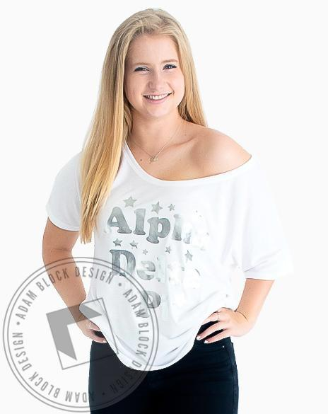 Alpha Delta Pi Silver Foil Star Tee Shirt-Adam Block Design