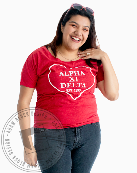 Alpha Xi Delta Heart Outline Flowy Tee-gallery-Adam Block Design