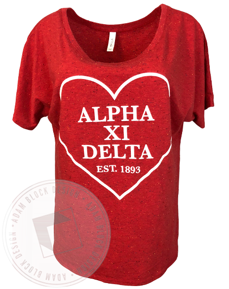 Alpha Xi Delta Heart Outline Flowy Tee-Adam Block Design