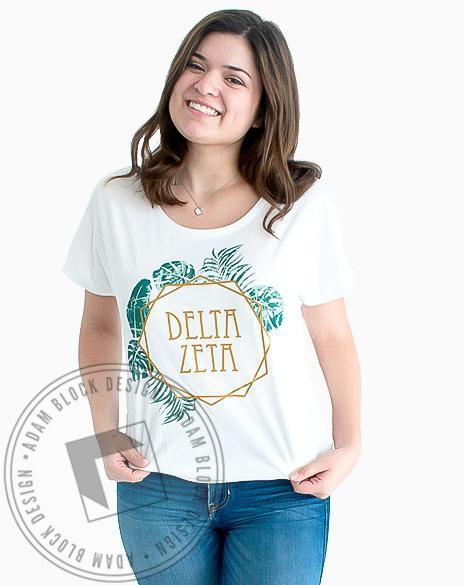 Delta Zeta Palm Leaf T-Shirt-gallery-Adam Block Design