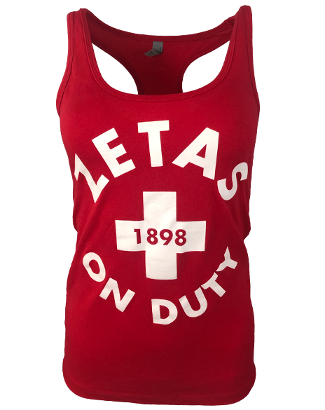 Sample Sale: Zeta Tau Alpha On Duty Racerback Tank (M)-Adam Block Design