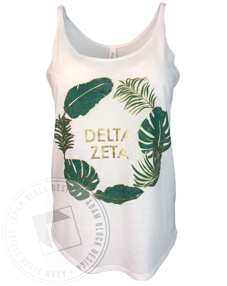 Delta Zeta Palm Leaf Tank-Adam Block Design