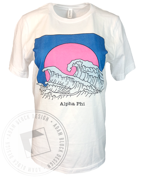 Alpha Phi Wave T-Shirt-Adam Block Design