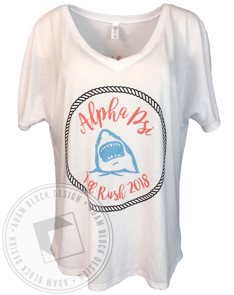Alpha Psi Dropping Jaws V-neck-Adam Block Design