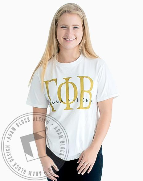 Gamma Phi Beta Gold Shimmer T-Shirt-Adam Block Design