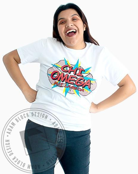 Chi Omega Comic Bid Day T-Shirt-Adam Block Design