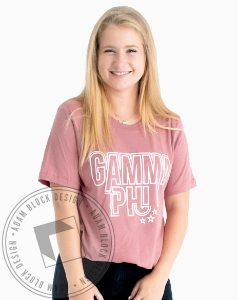 Gamma Phi Beta Outline Letter T-shirt-Adam Block Design