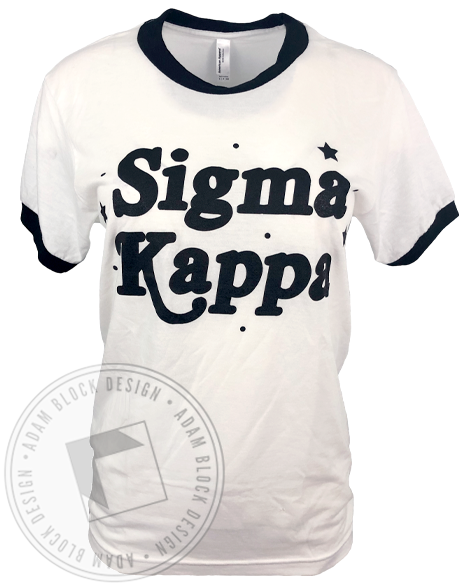 Sigma Kappa Star Ringer T-shirt-Adam Block Design