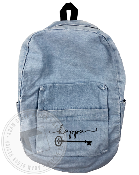 Kappa Kappa Gamma Key Denim Backpack-Adam Block Design