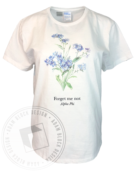 Alpha Phi Forget Me Not T-Shirt-Adam Block Design