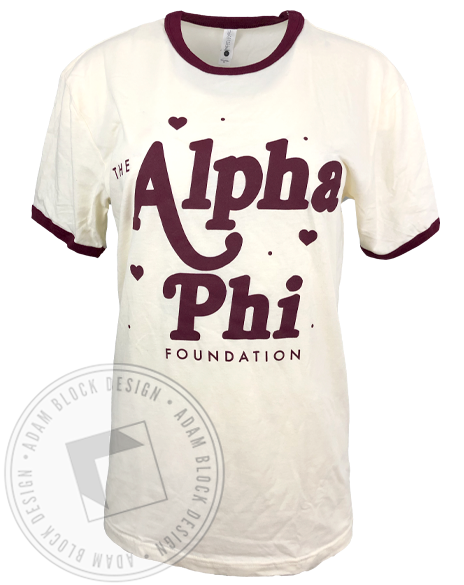 Alpha Phi Foundation Ringer T-shirt-Adam Block Design