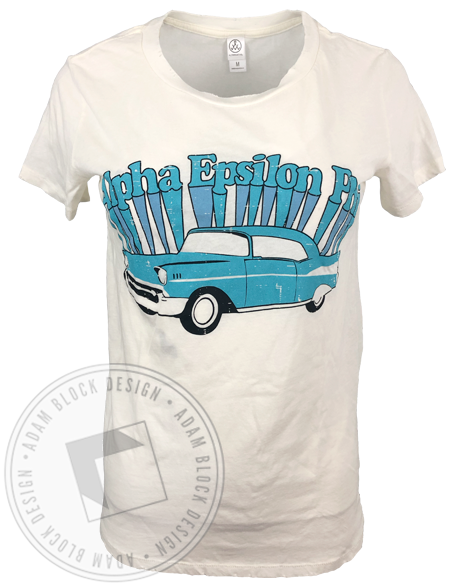 Alpha Epsilon Phi Vintage Car T-shirt-Adam Block Design