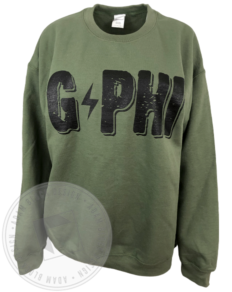 Gamma Phi Beta Lightning Bolt Sweatshirt-Adam Block Design