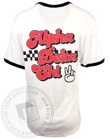 Alpha Delta Chi Pizza Ringer T-shirt-Adam Block Design