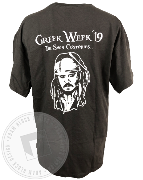 Sigma Delta Tau Pirate Greek Week Pocket T-shirt-gallery-Adam Block Design