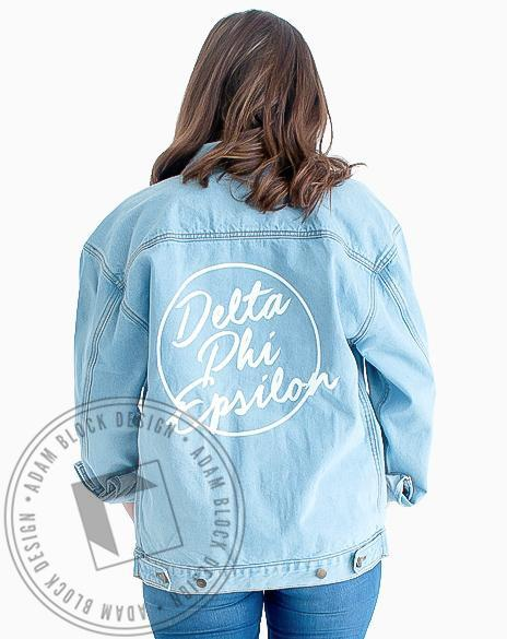 Delta Phi Epsilon Circle Jean Jacket-Adam Block Design