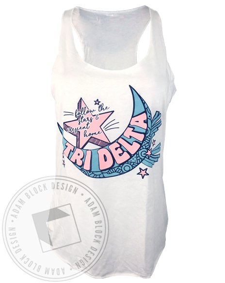 Delta Delta Delta Follow The Stars Racerback Tank-gallery-Adam Block Design