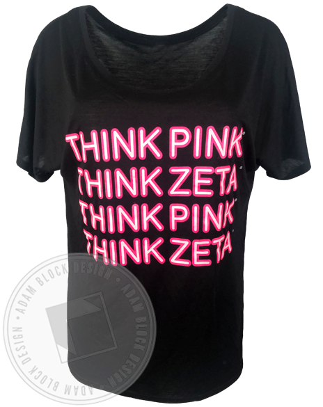 Zeta Tau Alpha Neon Think Pink T-shirt-Adam Block Design