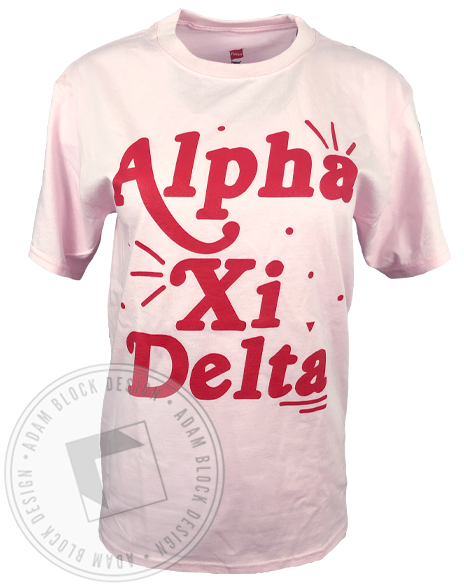 Alpha Xi Delta Fun Pink T-shirt-Adam Block Design