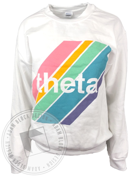 Kappa Alpha Theta Rainbow Stripe Sweatshirt-Adam Block Design