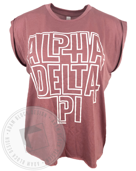 Alpha Delta Pi Outline Muscle Tank Top-Adam Block Design
