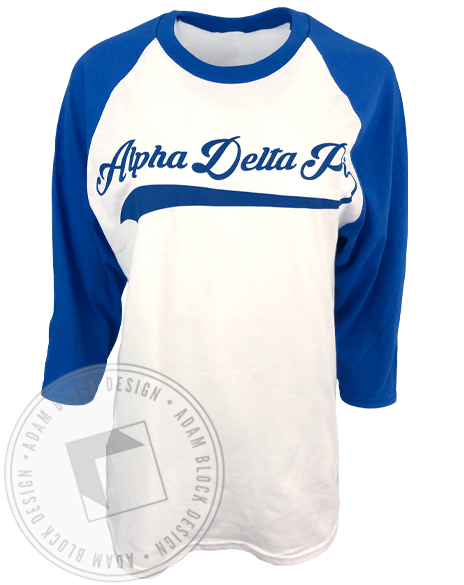 Alpha Delta Pi Diamond Series Baseball Tee Shirt-Adam Block Design