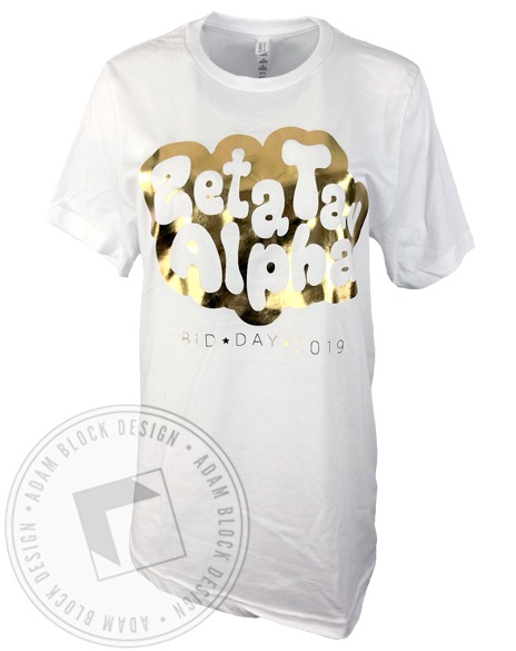 Zeta Tau Alpha Gold Foil Bid Day T-Shirt-Adam Block Design