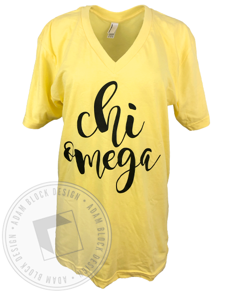 Chi Omega Script V-neck-Adam Block Design