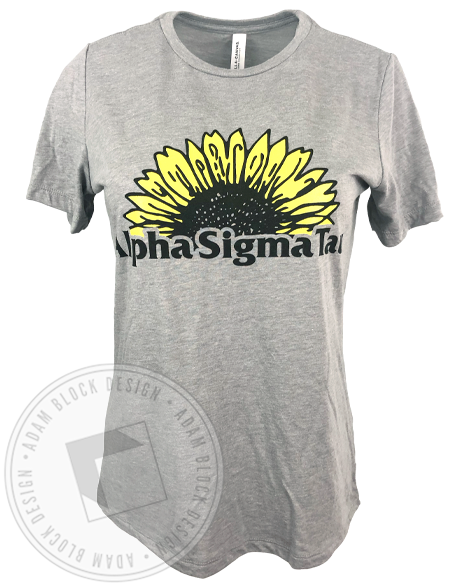 Alpha Sigma Tau Sunflower T-shirt-gallery-Adam Block Design