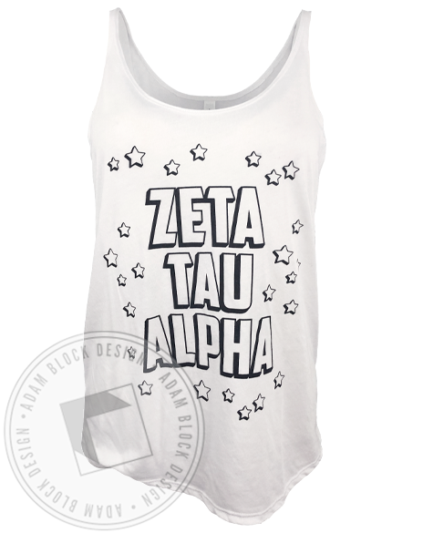Zeta Tau Alpha Outline Star Tank-Adam Block Design