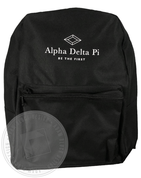 Alpha Delta Pi Be The First Backpack-Adam Block Design