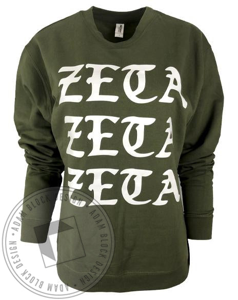 Zeta Tau Alpha Green Sweatshirt-Adam Block Design