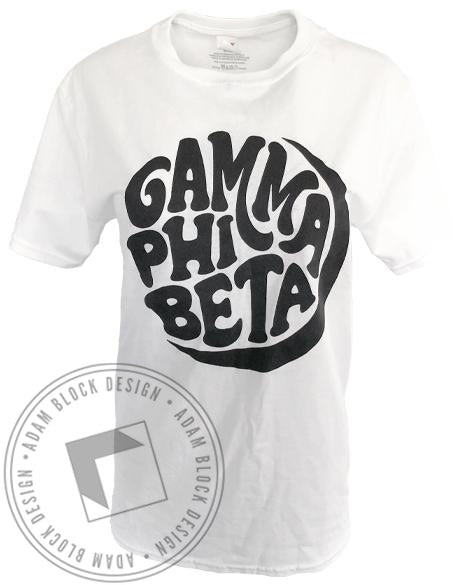 Gamma Phi Beta Crescent Moon T-shirt-Adam Block Design