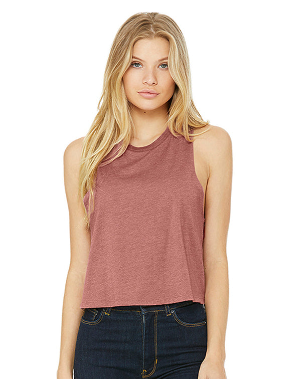 Bella Women's Racerback Cropped Tank-Adam Block Design