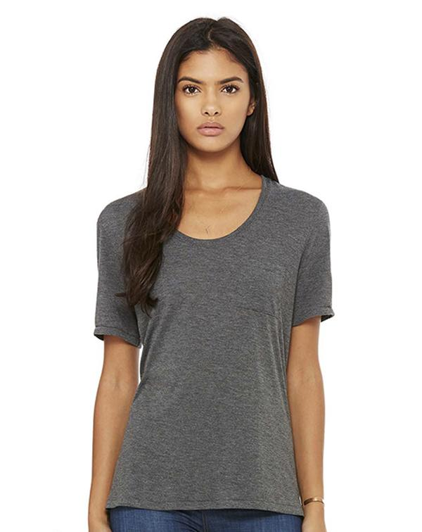 Bella Women's Flowy Pocket Tee-blank-Adam Block Design
