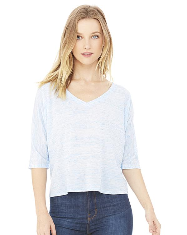 Bella Flowy V-Neck Cropped Tee-Adam Block Design