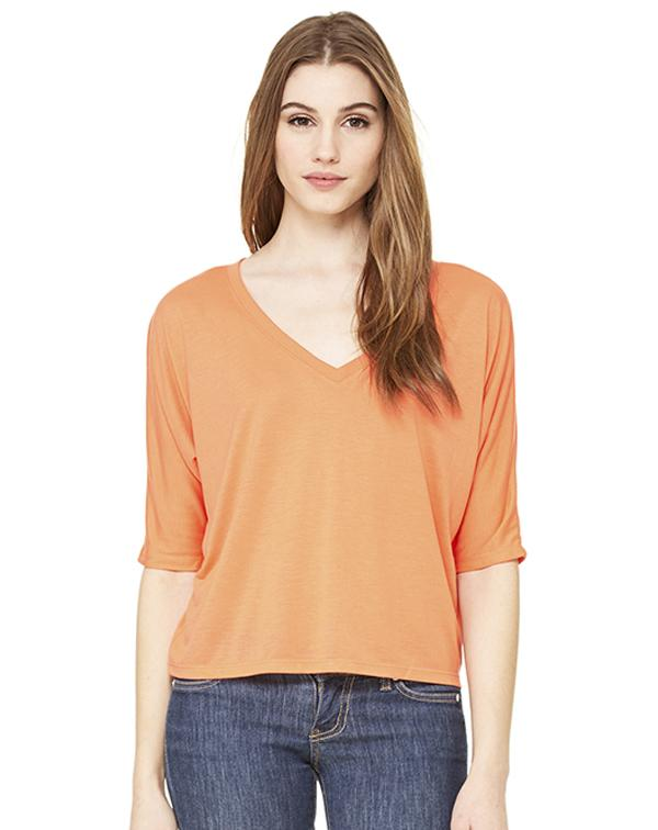 Bella Flowy V-Neck Cropped Tee-blank-Adam Block Design