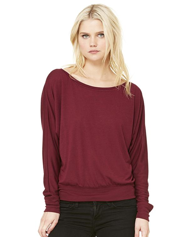 Bella Women's Flowy Off Shoulder Long Sleeve Tee-blank-Adam Block Design