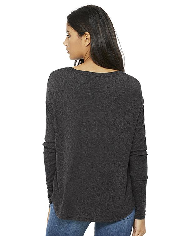 Bella Women's Flowy 2x1 Ribbed Long Sleeve Tee-blank-Adam Block Design