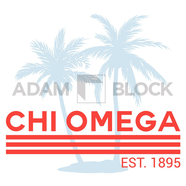 Chi Omega Palm Tree Tank-#originals-Adam Block Design