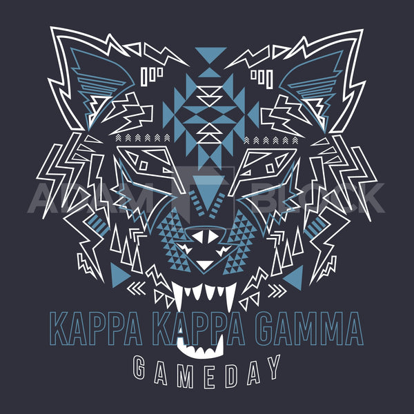 Kappa Kappa Gamma Wolf Game Day Long Sleeve-Adam Block Design
