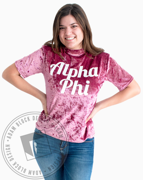 Alpha Phi Velour T-shirt-gallery-Adam Block Design