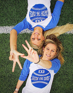 Kappa Kappa Gamma Catch The Cure Baseball Tee-Adam Block Design