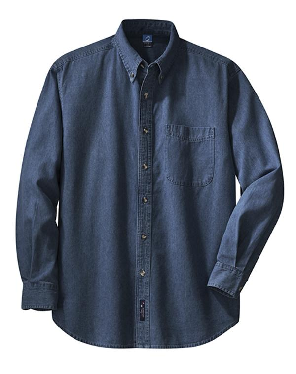 Port & Company Long Sleeve Value Denim Shirt-blank-Adam Block Design