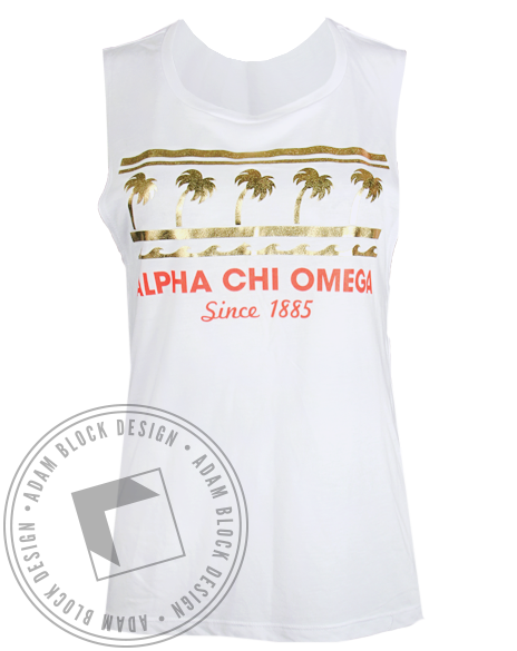 Alpha Chi Omega 1885 Palm Tree Tank Top-Adam Block Design