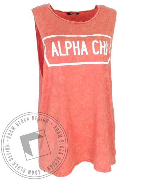 Alpha Chi Omega Acid Muscle Tank Top-Adam Block Design