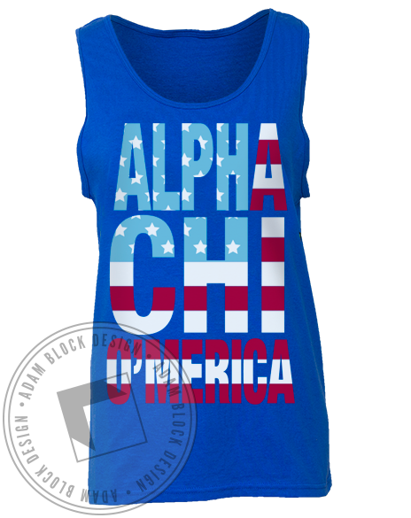 Alpha Chi Omega America Sisterhood Tank Top-Adam Block Design