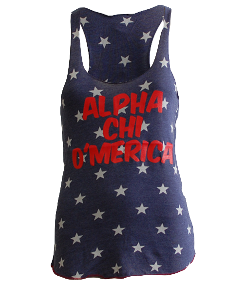 Alpha Chi Omega America Stars Tank Top-Adam Block Design